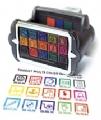 Stempel met afdruk in verschillende kleuren